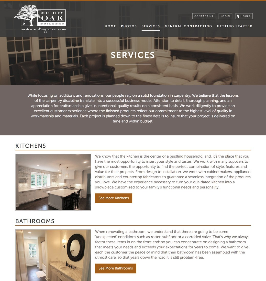 Mighty Oak Builders website